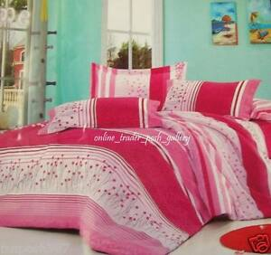 PINK-FLORAL-BUDS-amp-STRIPES-3IN1-54-034-DOUBLE-SIZE-BEDSHEET-SET-NEW