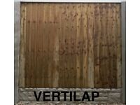 10 Section Vertilap Fence Panels, Concrete Posts & Gravel boards 6ft High DIY Pack