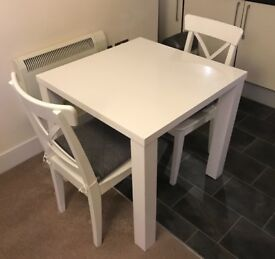 dining room chairs yorkshire. white square gloss dining table + 2 chairs ! room yorkshire