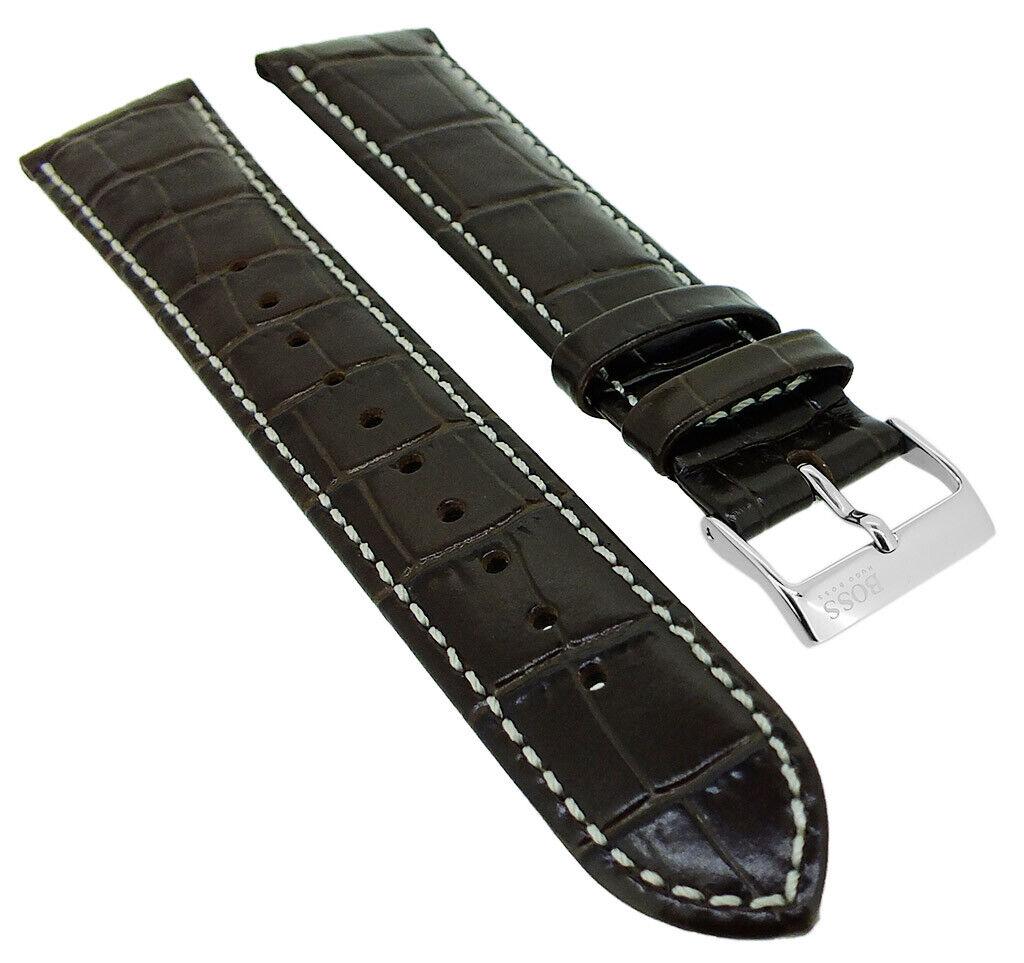 Hugo Boss Ersatzband Krokoprägung 20mm Leder Band braun 1513598
