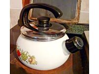 Vintage Enamel Stove Top Whistling Kettle ~ Retro