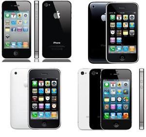 PLUSIEURS IPHONES 3G 3GS 4 4S A PARTIR DE 40$ FIDO ROGERS CHATR TELUS BELL VIRGOIN MOBILE WIFI CAMERA GPS BLUETOOTH HSPA