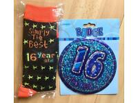 16th Birthday big badge and pair of socks