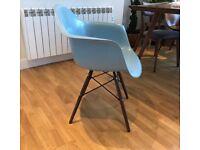 DAW Fibreglass Chair, Eames style, Tibet Blue, Matt (new)
