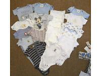 Large bundle of baby boys clothes 0-3 months / newborn 60+