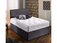 New Charcoal Grey Luxury Suede Divan Bed Set With Orthopaedic Tufted Mattress