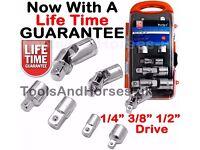 "NEW - 7pc Socket Adapter & UJ Universal Joint Set 1/4"" 3/8"" 1/2"" Socket Adaptor Set"