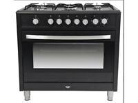 Bush BRCNB90SEBK 90 cm black dual fuel gas top range cooker.New