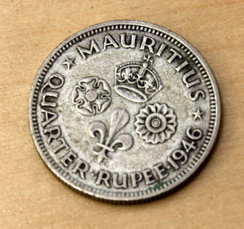 1946 Mauritius 1/4 Rupee Silver