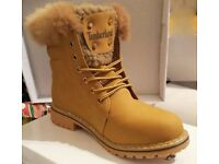 Brand New without box ladies timberland fur rim ankle boots sizes 4 - 5 - 6 & 7