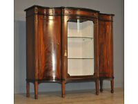 Attractive Large Vintage Flame Mahogany Triple Door Bookcase Display Cabinet