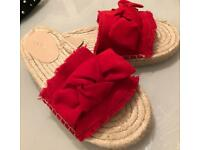 Miss Selfridge Poloma Red Bow Espadrilles