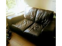 Brown leather 2 seater sofa - excellent condition