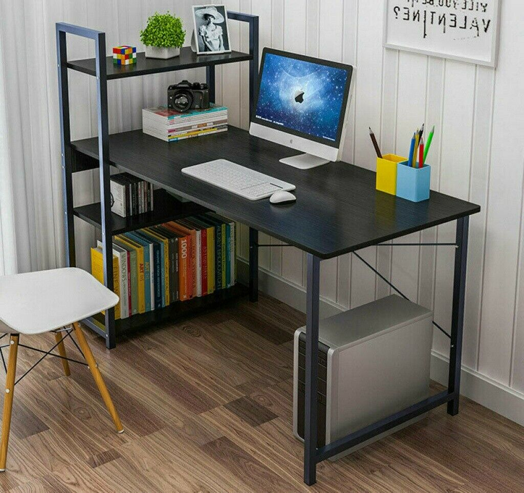 "47"" Wood Computer Desk PC Laptop Table Home Office Study Workstation w/4 Shelves 3"