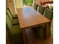 Solid Oak Dining Table & 8 Chairs + Solid Oak Buffet Cabinet for sale  Knightswood, Glasgow