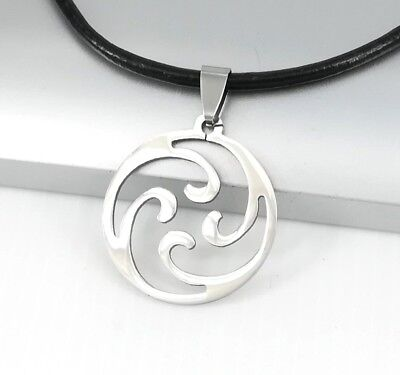 Silver Spiral Ocean Wave Pendant Womens Mens Black Leather Surfer Necklace