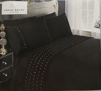 Karina Bailey | Ella | Rouched Diamanté Double Size Duvet Bedding Set | Black