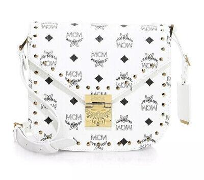 MCM Small Patricia Visetos Shoulder Bag White Gold Stud Coated Canvas Black Logo