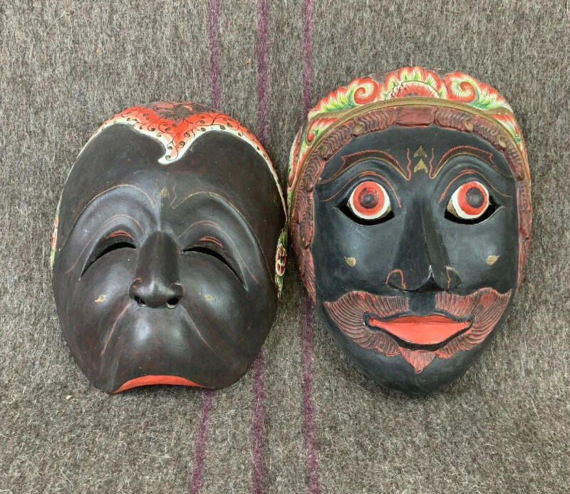Antique Indonesian Panji Topeng Mask Set Wall Art