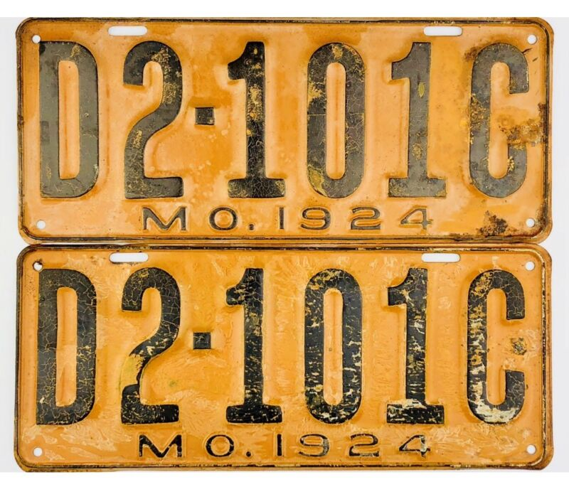 NOS UNUSED 1924 Missouri DEALER License Plate PAIR #2-101C
