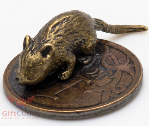 Solid Brass Figurine of pocket wallet Mouse Mice on a Coin Talisman IronWork
