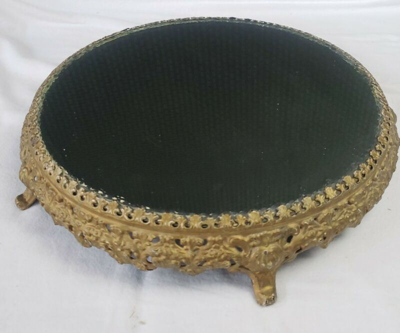 """Antique Vintage Victorian Gold Tone Footed Beveled Mirrored Plateau 13"""""""
