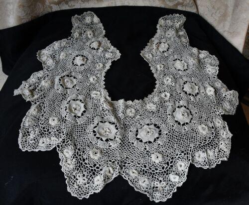 Vintage Antique Victorian  Lace Crochet Dress  Bertha Neck Collar Excellent