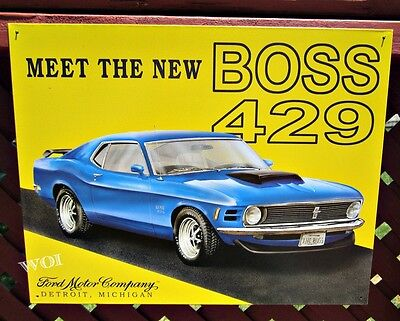 1970 Ford Mustang Boss 429 Engine Sports Car Advertising Tin Picture Poster Sign 1970 Ford Mustang Engine