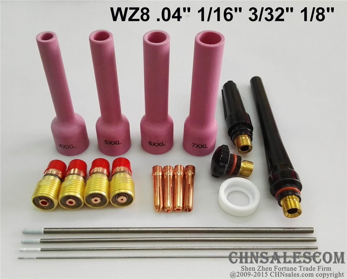 "28 pcs TIG Welding Stubby Gas Lens #10 Pyrex Cup Kit  WP-17//18//26 Torch  1//16/"""
