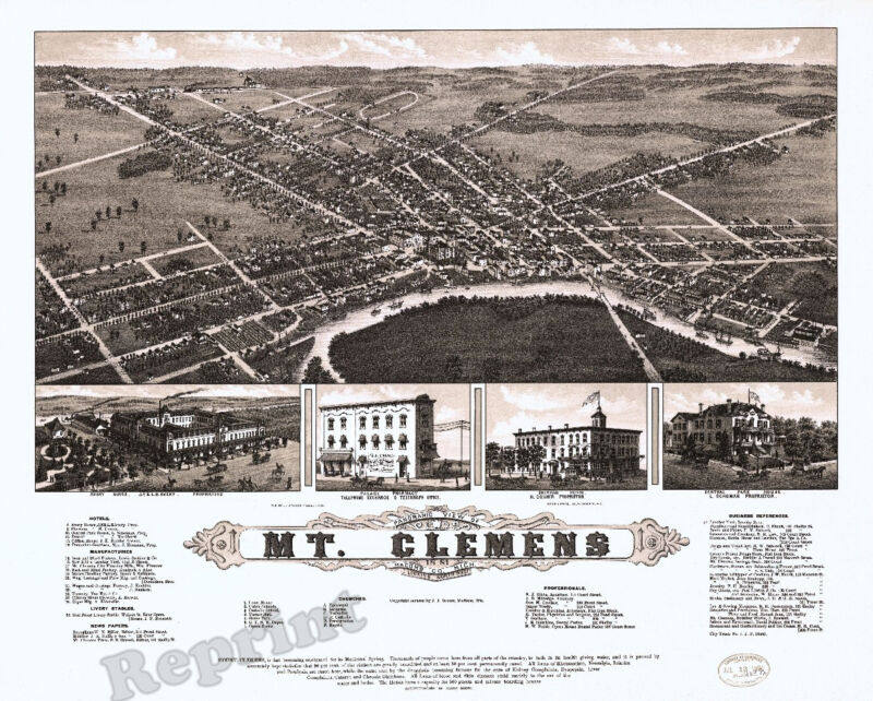 Wall Art  Old Map of Vintage Mount Clemens Michigan  Year 1881  11x14