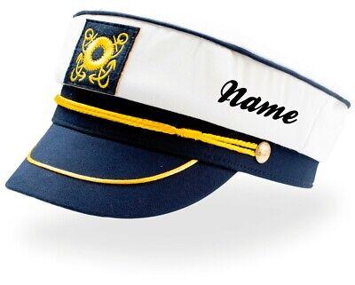 Boots Kapitän Mütze mit Wunschnamen Captain Hat Matrose Boots Hut AT331 ()