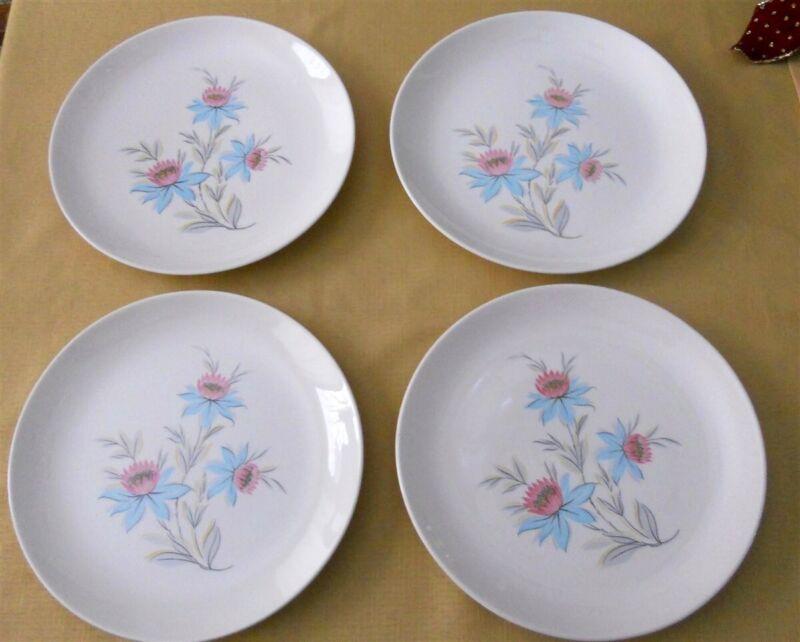 "Steubenville Pottery Fairlane 4 Dinner Plates 10"" Mid-Century Pink Blue Flowers"