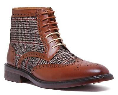 Justin Reece Mens Leather Chukka Brogue Boots In Tan Sizes UK 6 - 12