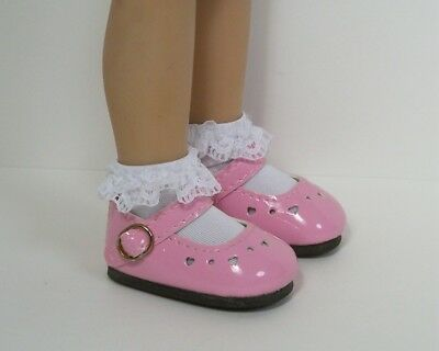 Pink Doll Shoes - PINK Patent Heart CF Doll Shoes For Dianna Effner 13