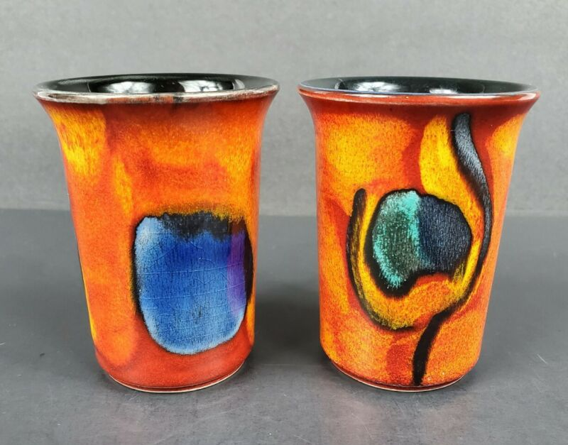 """Pair of Poole England Art Pottery Small 3 5/8"""" Flared Colorful GEMSTONE Vases"""