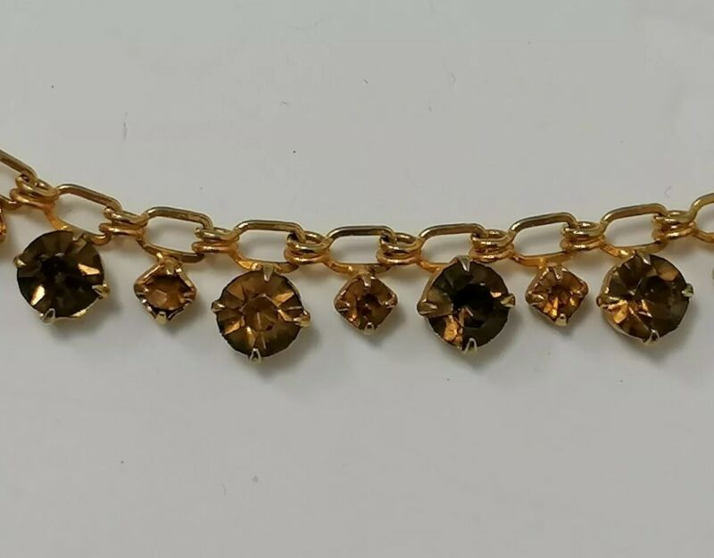 VINTAGE 1950s Citrine Topaz CRYSTAL Gold Tone Choker Chain Matinee Old Necklace