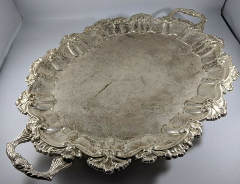 Antique Vintage International Silver Co. Silver Plated Footed Large Butlers Tray