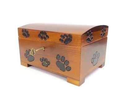 Pet Cremation Urn Large Wood Box Paw Print Cat Dog Locking Ashes Memorial Box