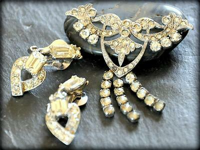 Vtg W.H. Co. Sterling Silver Rhinestone Dangle Brooch + Bogoff Clip Earring Lot