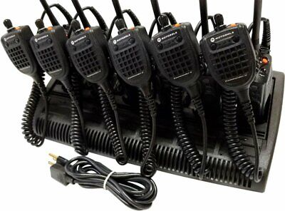 6x Motorola Xts5000 Vhf P25 Radio Commander 2 Speaker Mic Impres Bank Charger