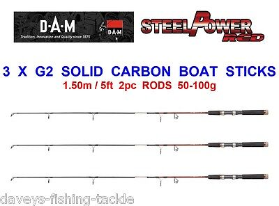 3 DAM STEELPOWER RED G2 SOLID CARBON 2pc BOAT STICKS FOR CANOE KAYAK ROD FISHING