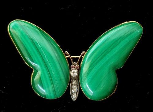 Antique 14k Gold Diamond Malachite Ruby Butterfly Pendant Pin-Estate Jewelry 21g
