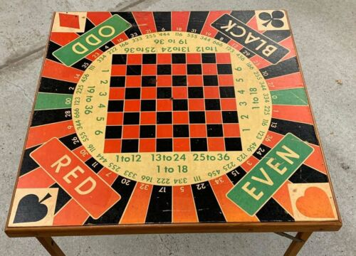 Folding Card Game Table Checker Chess Roulette Red Black Green 1953 Wall Hanging
