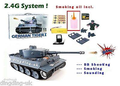 Heng Long 2.4G radio remote control rc German Tiger 1/16 BB shooting Smoking