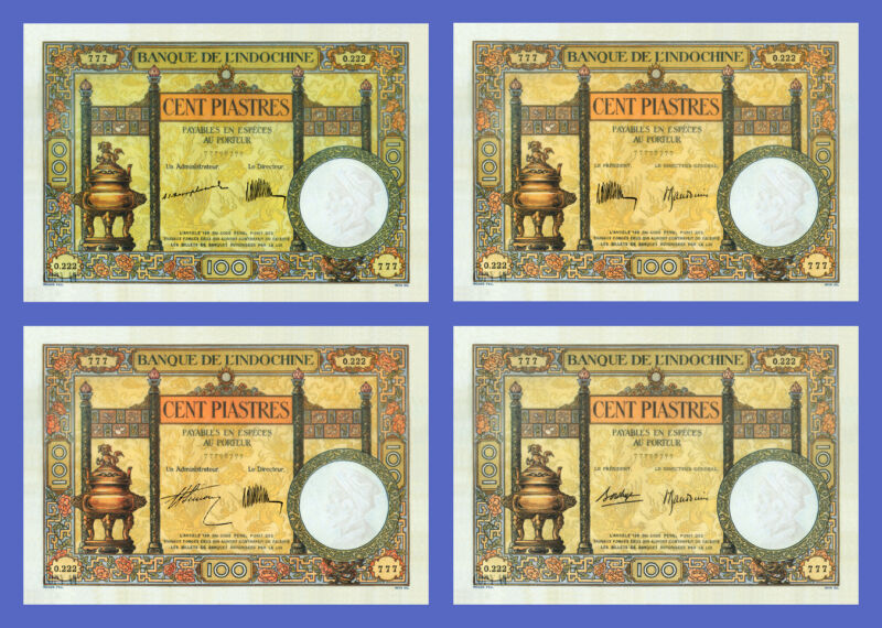 VIETNAM INDOCHINE - Lots of 4 notes - 100 Piastres -4 Signature - Reproductions