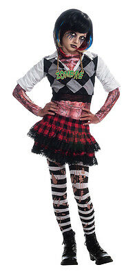 Girls Zombie Punk Costume 80s High School Girl Skirt Rocker Fancy Dress Childs  - 80s Girl Rockers