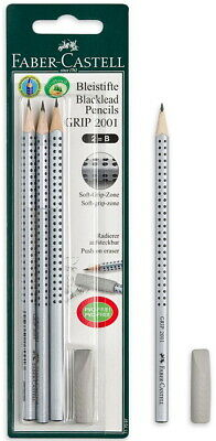Faber-castell Blacklead 2b Pencil Grip 2001 Push On Eraser 4pcs In Blister