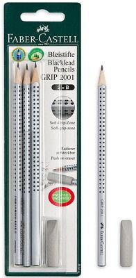 Faber-castell Blacklead 2b Pencil Grip 2001 Push On Eraser 4pcs In Blister