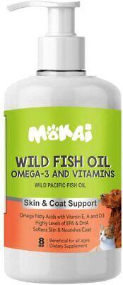 MOKAI Fish Oil For Dogs & Cats Wild Alaskan Salmon Omega Supplement Helps Skin