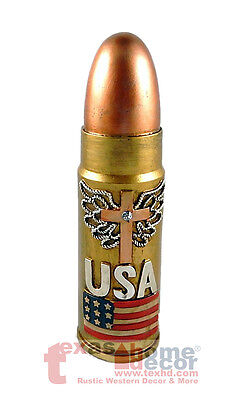 USA Flag Military Large Bullet Coin Piggy Bank Realistic Look Wing Cross 11.25